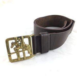 Wide belt genuine leather brown horse equestrian